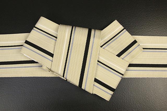 近賢織物 正絹 角帯 宝来織 お仕立て付き 黒灰ストライプ ベージュ