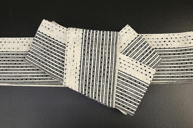 近賢織物 和紙 角帯 宝来織 お仕立て付き 流星 白系