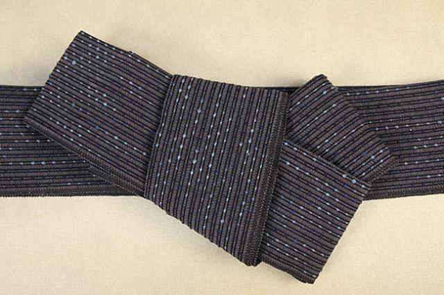 近賢織物 和紙 角帯 宝来織 お仕立て付き 流星 紺