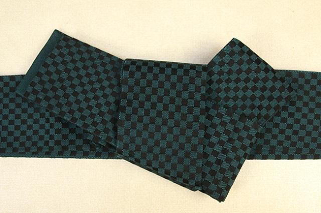 近賢織物 綿 角帯 宝来織 お仕立て付き 市松 緑×黒 リバーシブル