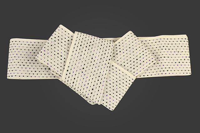 近賢織物 和紙 角帯 流星 生成り色