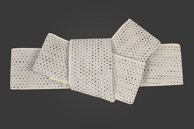 近賢織物 和紙 角帯  流星 青白