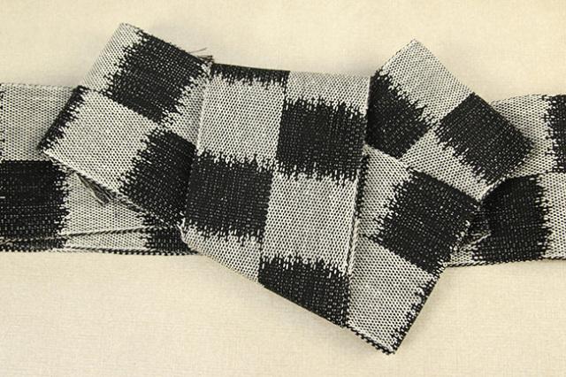 近賢織物 正絹 角帯 お仕立て付き まほろば 市松 黒×白
