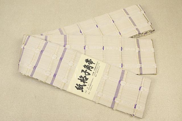 米沢織 近賢織物 角帯 紙格子角帯 白