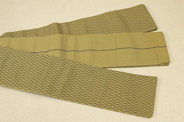 米沢織 近賢織物 角帯 遊粋 菱形紋 黄土