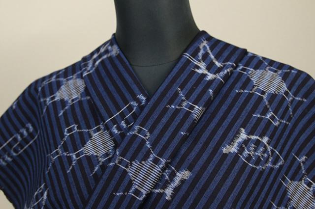 弓浜絣 木綿着物 オーダーお仕立て付き 普段着きもの ストライプ 亀 青×紺