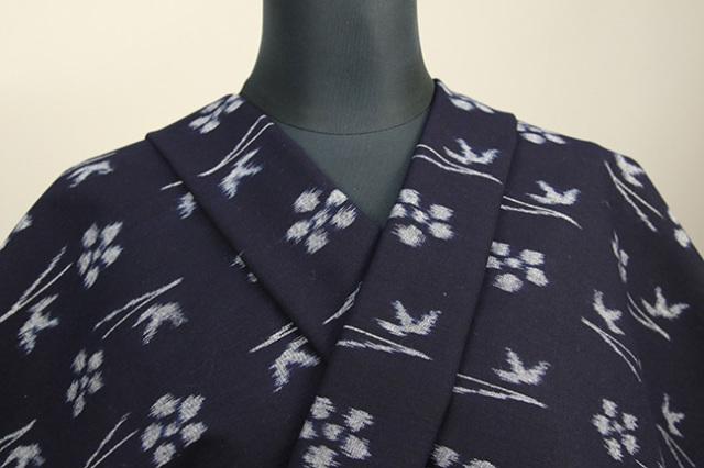 弓浜絣 木綿着物 オーダーお仕立て付き 普段着きもの 松竹梅 藍染