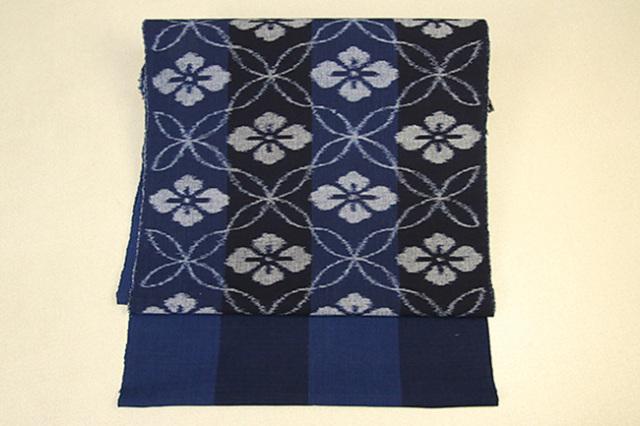 伝統工芸品 弓浜絣(手織り)九寸名古屋帯お仕立て付き ストライプ 藍