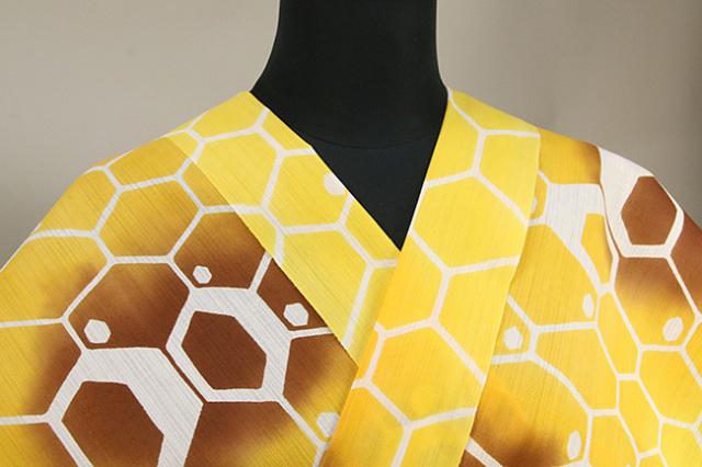あづまやオリジナル商品 浜松注染浴衣 綿麻 ハニカム 黄 オーダー仕立て付き