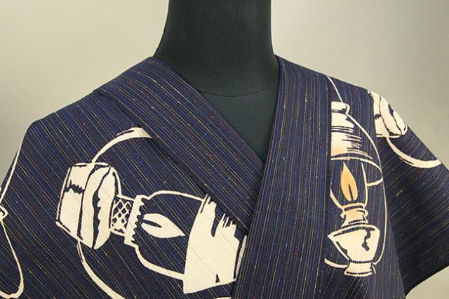 あづまやオリジナル商品 浜松注染 遠州木綿着物 洋燈 紺 オーダー仕立て付き