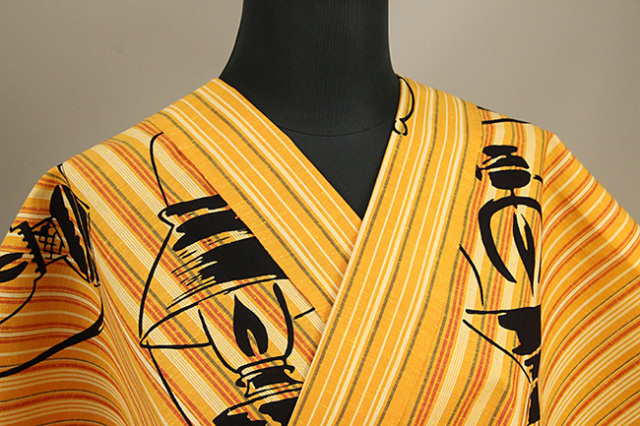 あづまやオリジナル商品 浜松注染 遠州木綿着物 洋燈 橙 オーダー仕立て付き