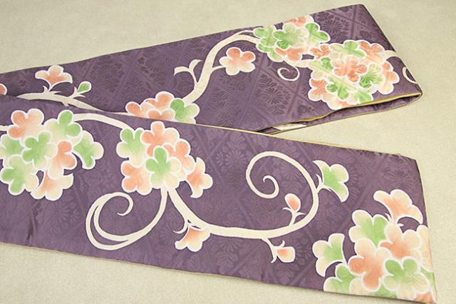 ち江す 半幅帯 ロウケツ染 正絹 花かずら 紫