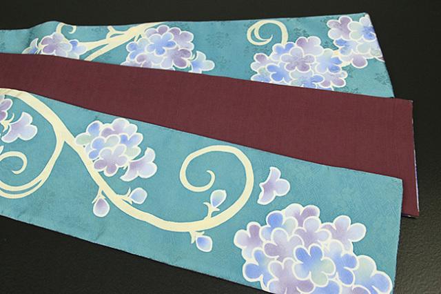 ち江す 半幅帯 ロウケツ染 正絹 花かずら 青緑