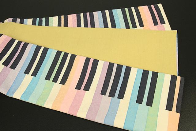 ち江す 半幅帯 ロウケツ染 正絹 ピアノ