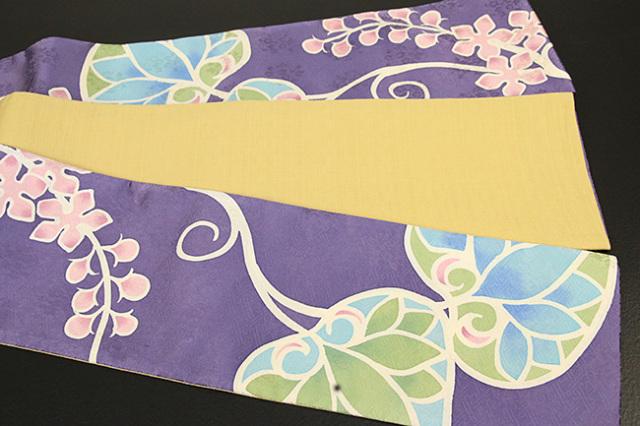 ち江す 半幅帯 ロウケツ染 正絹 葵 紫