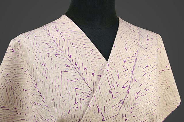京都 藤井絞 正絹着尺 反物価格 大島紬 縫い〆桧垣 白×紫