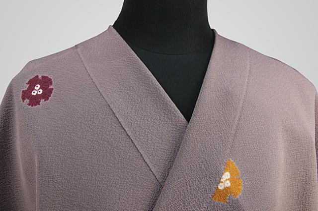 京都 藤井絞 正絹着尺 反物価格 縮緬地 小雪輪 紫
