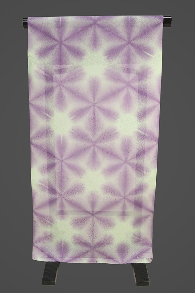 京都 藤井絞 正絹着尺 反物価格 紗 雪花 紫