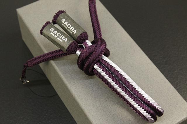 和小物さくら 男性用羽織紐 丸組 正絹 直付けタイプ 組紐 紫 白