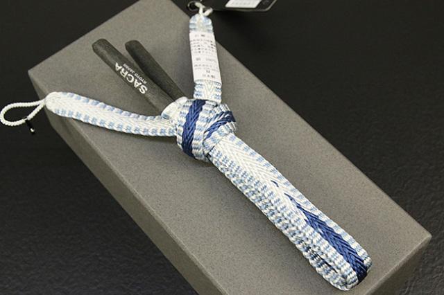 和小物さくら 男性用羽織紐 平組 正絹 直付けタイプ 組紐 白 青