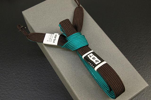 和想庵 男性用羽織紐 平組 正絹 直付けタイプ 組紐 茶×緑