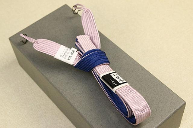 和想庵 男性用羽織紐 平組 正絹 直付けタイプ 組紐 薄桃×青