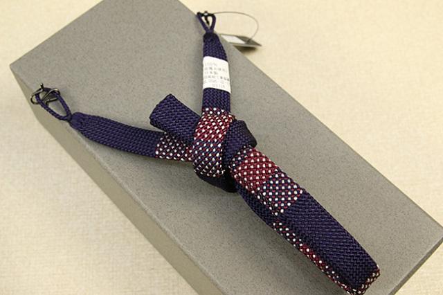 和小物さくら 男性用羽織紐 正絹 直付けタイプ 組紐 房なし 平組 青紫