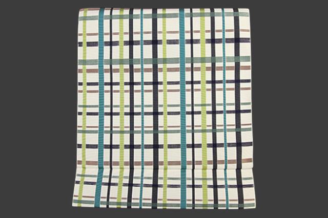 本場筑前博多織 松装織物 八寸名古屋帯 正絹 お仕立て付き 狂言格子 生成色×緑
