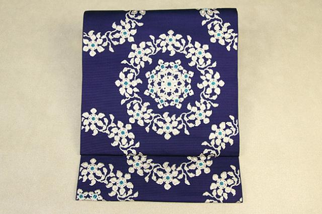 西村織物 博多織 八寸名古屋帯 正絹 お仕立て付き 正倉院文様 紺