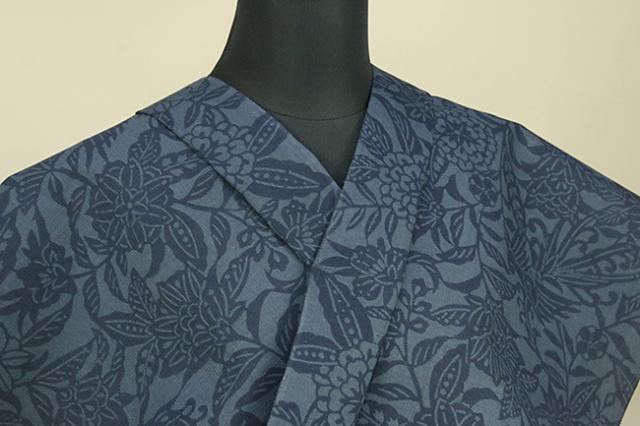 片貝木綿 紺仁工房 木綿着物 オーダーお仕立て付き 両面型藍染 草木柄 藍色 ◆男女兼用◆