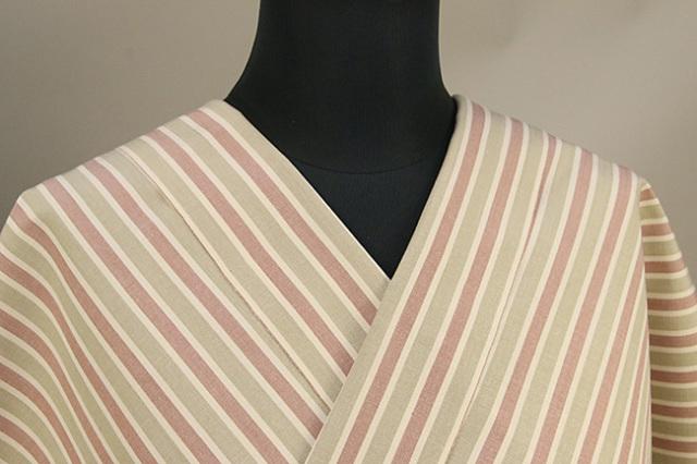 絹木綿着物 オーダーお仕立付き 洗える普段着着物 きくちいま 303シリーズ バラの垣根 ベージュ×薄赤 ◆女性にオススメ◆
