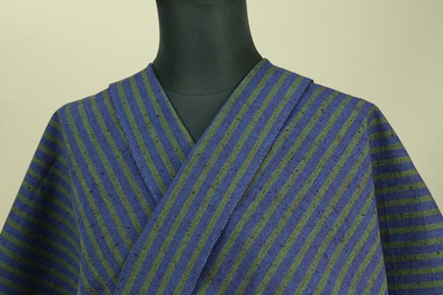 久留米絣 木綿着物 オーダーお仕立て付き 普段着きもの ストライプ 青×緑 ◆女性にオススメ◆