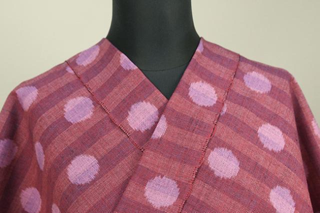 久留米絣 木綿着物 オーダーお仕立て付き 普段着きもの たて絣 水玉 赤 ◆女性にオススメ◆