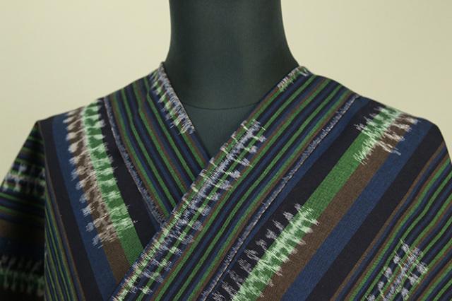久留米絣 木綿着物 オーダーお仕立て付き 普段着きもの 白中絣 ストライプ 緑 ◆女性にオススメ◆