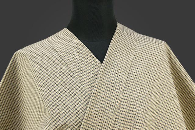久留米絣 木綿着物 オーダーお仕立て付き 普段着きもの チェック 黄/紺 ◆女性にオススメ◆