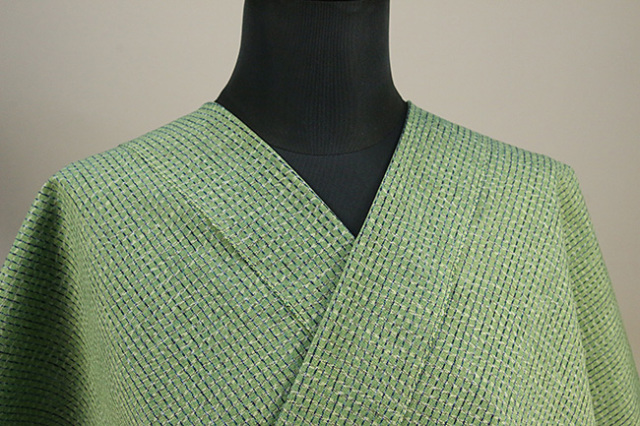 久留米絣 木綿着物 オーダーお仕立て付き 普段着きもの 格子 緑 ◆男女兼用◆