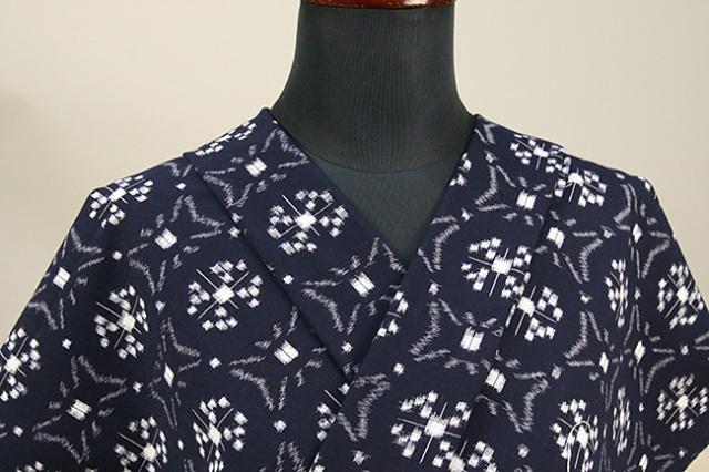久留米絣 木綿着物 オーダーお仕立て付き 普段着きもの 古代絣 紺 No.7060 ◆女性にオススメ◆