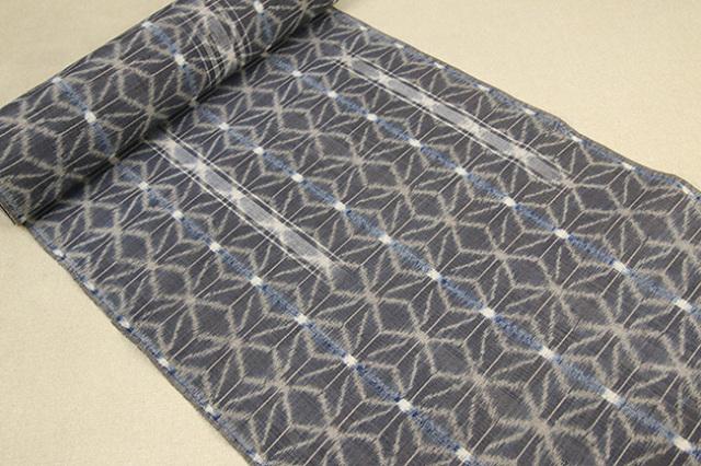 久留米絣 正藍染 草木染 木綿着物 オーダー仕立付き 手織り 麻の葉 灰 ◆女性にオススメ◆