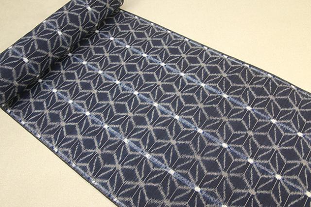 久留米絣 正藍染 草木染 木綿着物 オーダー仕立付き 手織り 麻の葉 紺 ◆女性にオススメ◆