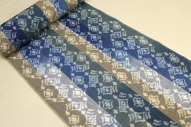 久留米絣 正藍染 草木染 木綿着物 オーダー仕立付き 手織り 菱形 カラフル ◆女性にオススメ◆