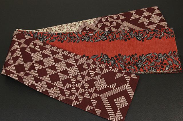 京都小泉 召しませ花 半幅帯 幾何学  リバーシブル 赤茶×白