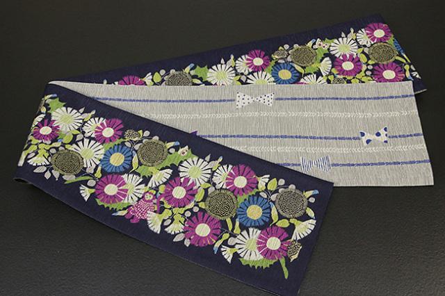 京都小泉 召しませ花 半幅帯 ひまわり  リバーシブル 濃紺