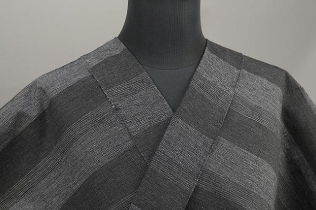 三河木綿 オーダーお仕立付き 洗える普段着着物 階~きざはし~ 灰x黒 48-35-1 ◆男女兼用◆
