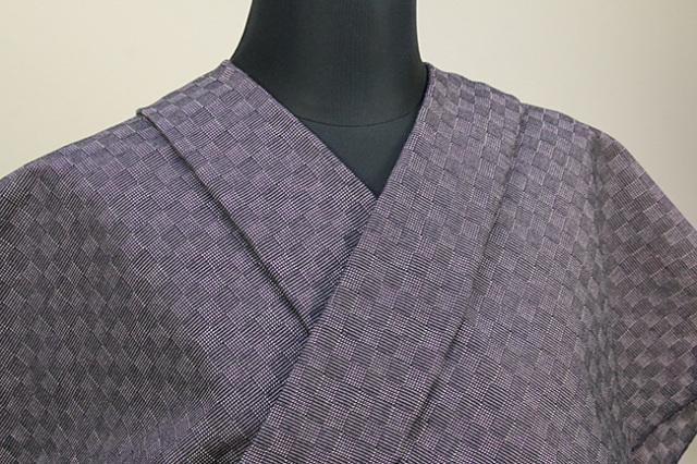 三河木綿 オーダーお仕立付き 洗える普段着着物  中厚地 チェッカーボード クラシック 紫 SY-03 ◆男女兼用◆