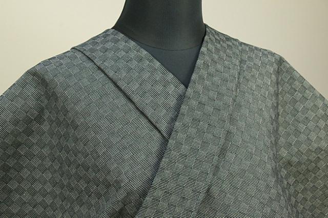 三河木綿 オーダーお仕立付き 洗える普段着着物  中厚地 チェッカーボード 緑 SY-01 ◆男女兼用◆