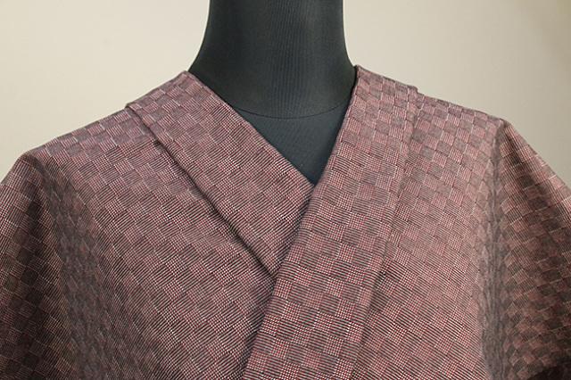 三河木綿 オーダーお仕立付き 洗える普段着着物  中厚地 チェッカーボード クラシック 赤 SY-04 ◆男女兼用◆