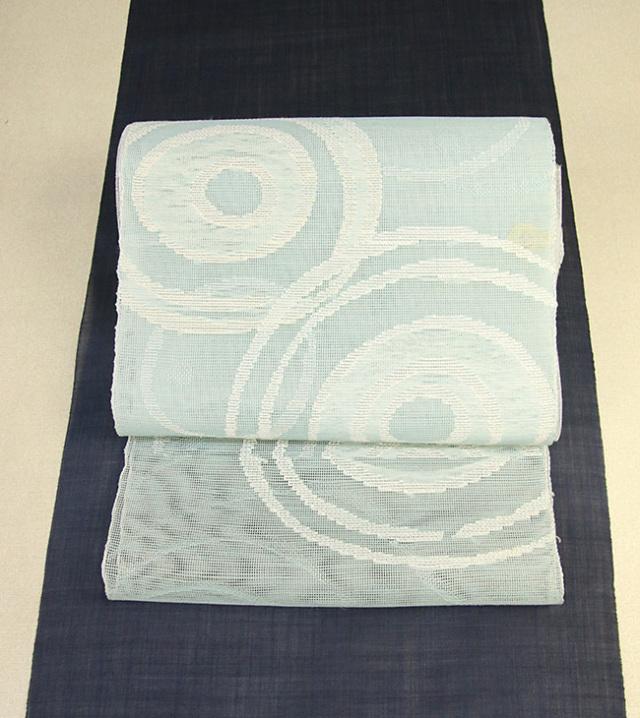西陣 帯屋捨松 夏物正絹 紗 八寸名古屋帯 お仕立て付き 涼波文 薄青緑