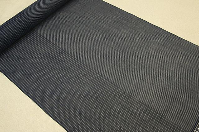 石川県指定無形文化財 本麻手織 能登上布 麻100% オーダー仕立付き 濃紺 変わり縞