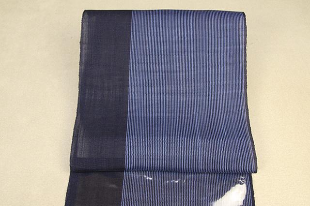 石川県指定無形文化財 本麻手織 能登上布 本麻 八寸名古屋帯 ストライプ 紺×青 仕立付き