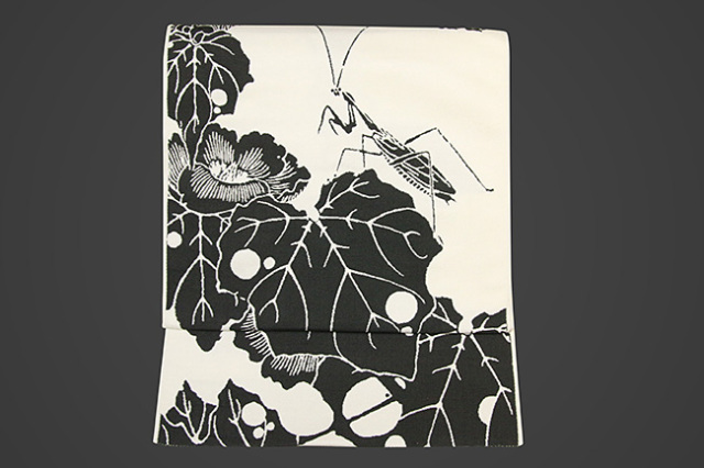 【受注生産品】西陣織 りんどう屋 九寸名古屋帯 玄圃瑤華 お仕立て付き 冬葵 カマキリ 白
